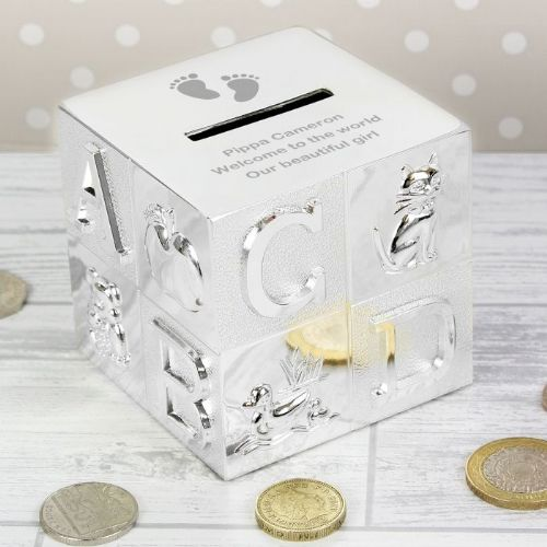 Personalised Footprints ABC Money Box